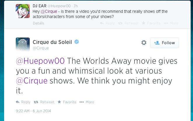 Cirque du Soleil Tweet