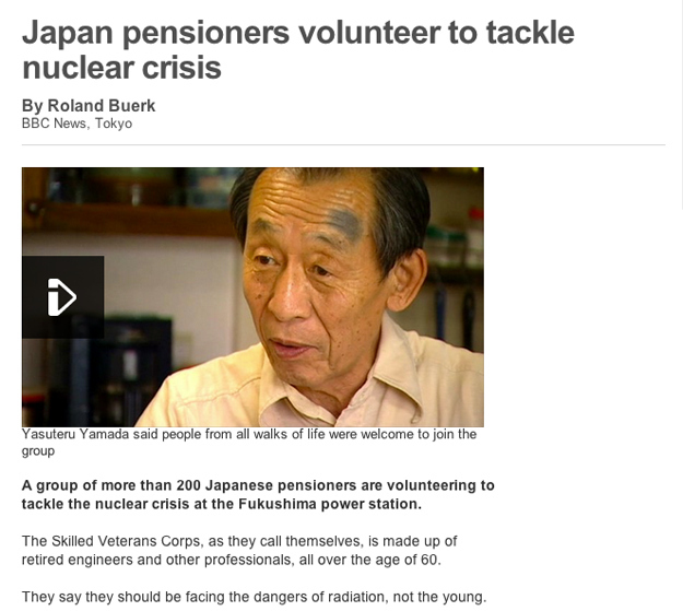 Elderly Japanese volunteers