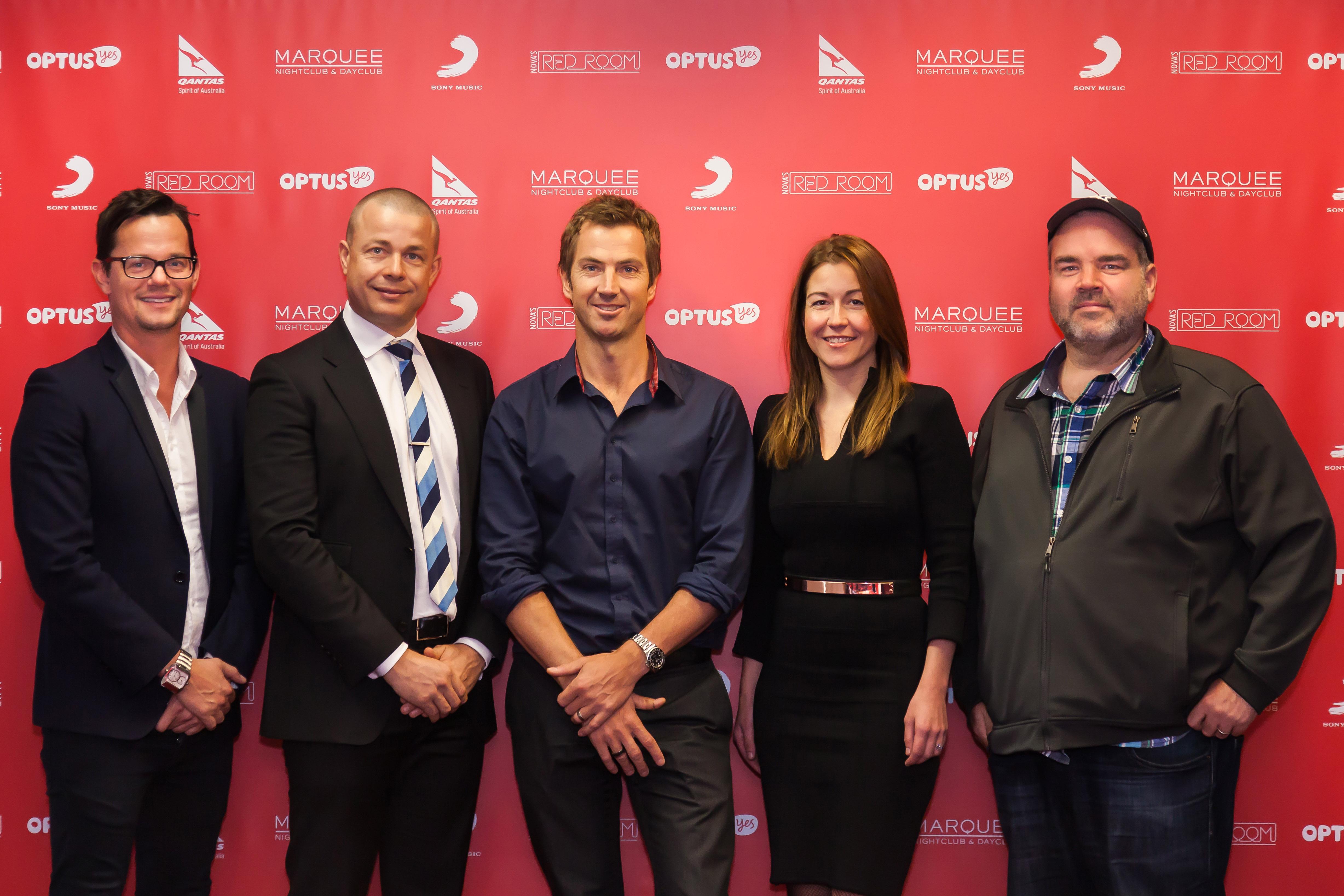 Sony Music's Dan Nitschke, Marquee's Tim Waugh, NOVA Entertainment's Tony Thomas, Qantas' Olivia Wirth & Optus' Nathan Rosenberg (sml)