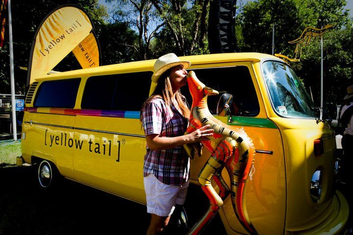 Yellow Tail's Kombi van. Images via Yellow Tail's Facebook Page.