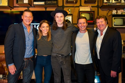 Merrick Watts, Sam Frost, singer James Bay, Rove McManus and Grant Blackley
