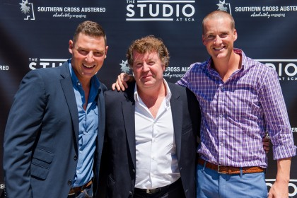 Hosts Merrick Watts and Jules Lund with CEO Grant Blackley (centre)
