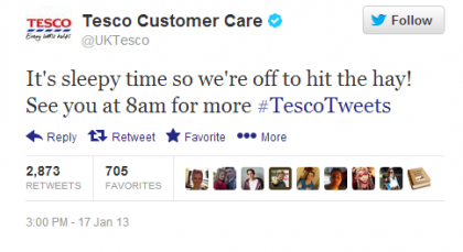 Tesco Tweet Hit the Hay