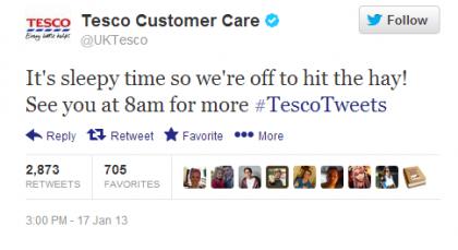 Tesco Tweet Hit the Hay