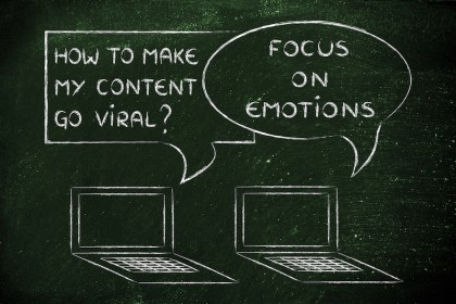 computer conversation about blogging and digital marketing tips: viral content creates an emotion