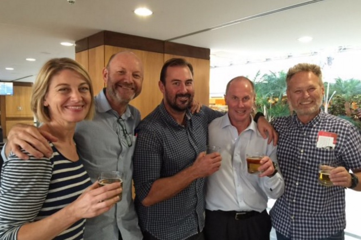 The crew on their return to Australia - Stephen Rice is second from left.