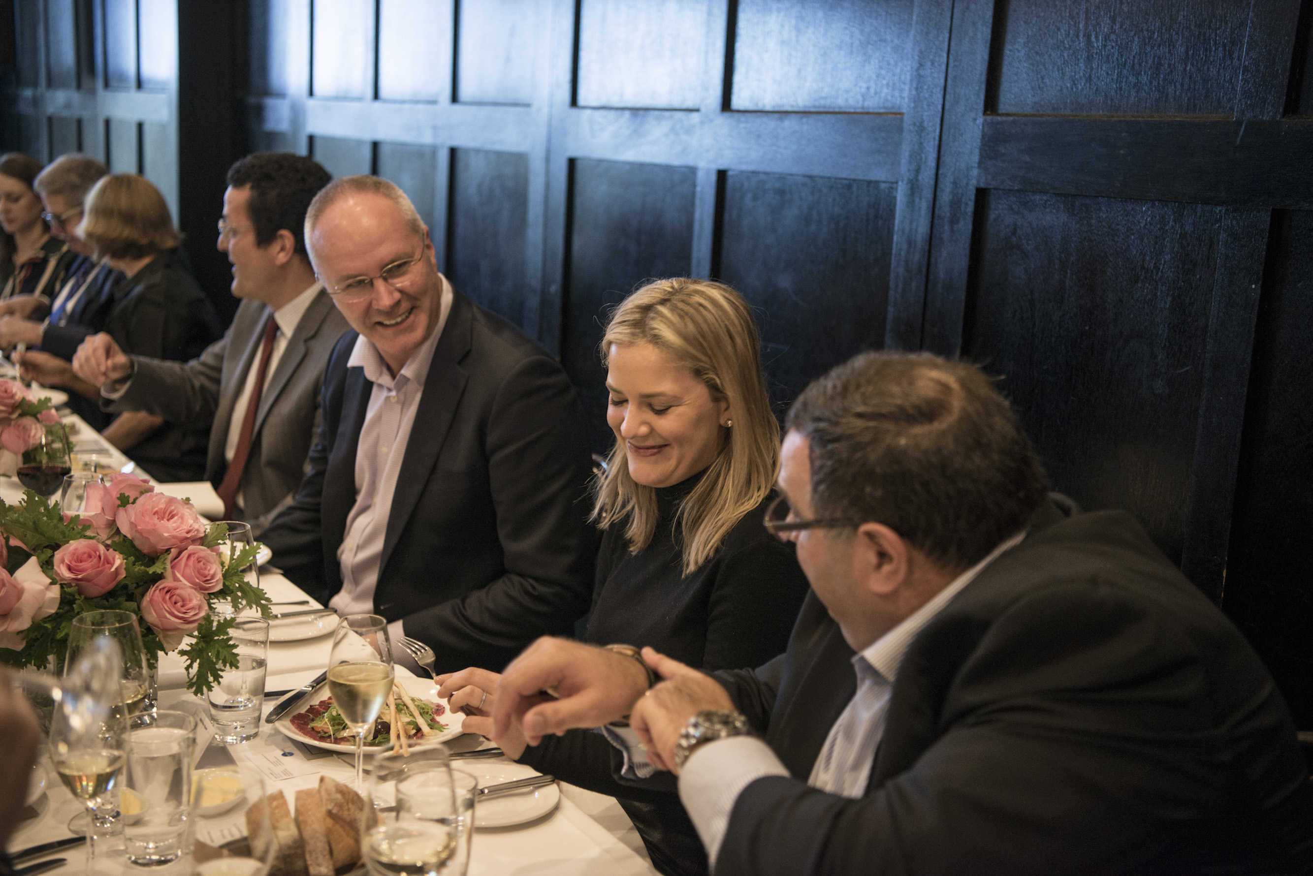 Fairfax Media Brand Solutions and Client Development Director Michael Grenenger (left) talks to guests enjoying the AFR Watch issue launch at The Tea Room at The European. (Photo by Josh Robenstone Fairfax Media