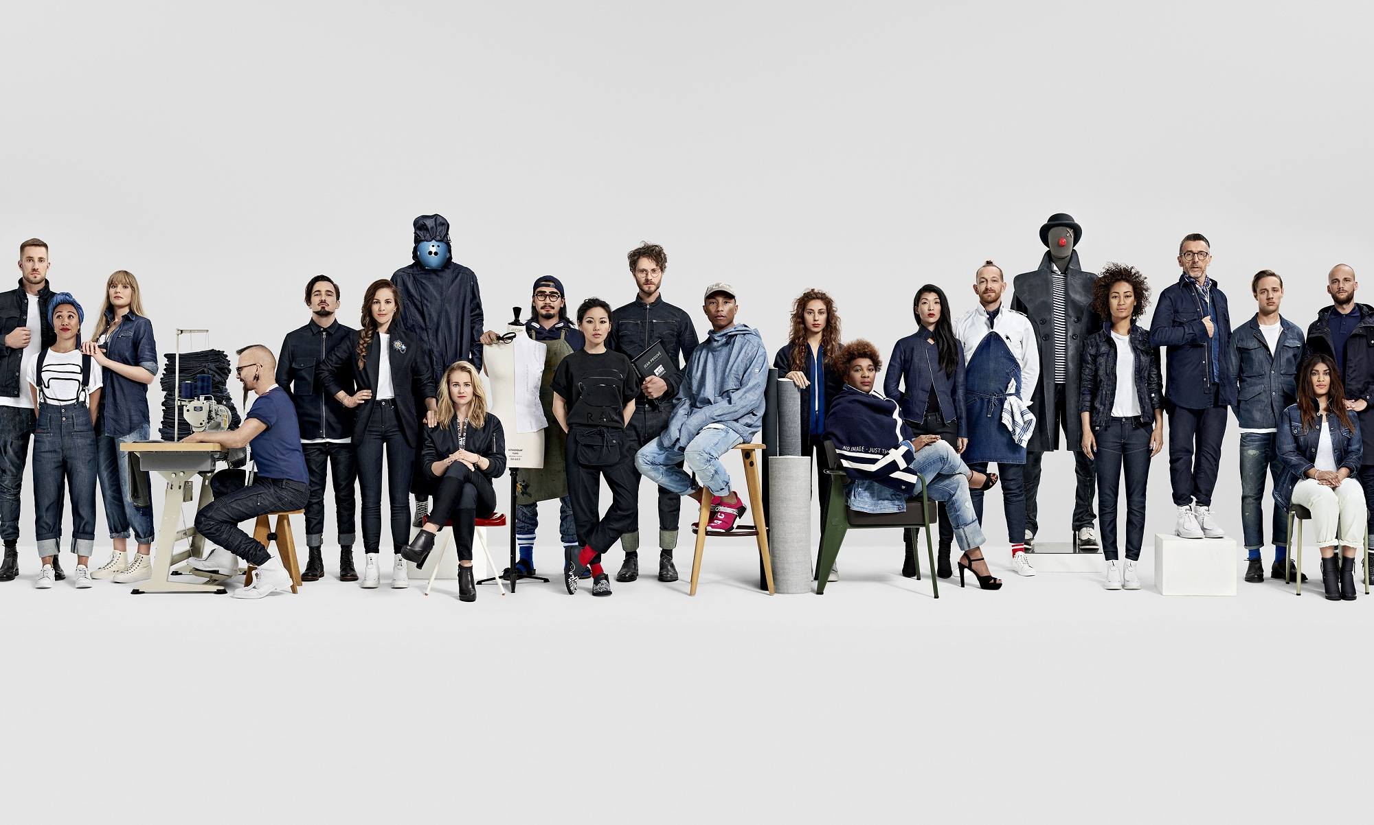 g star raw employees star alongside pharrell williams in. Black Bedroom Furniture Sets. Home Design Ideas