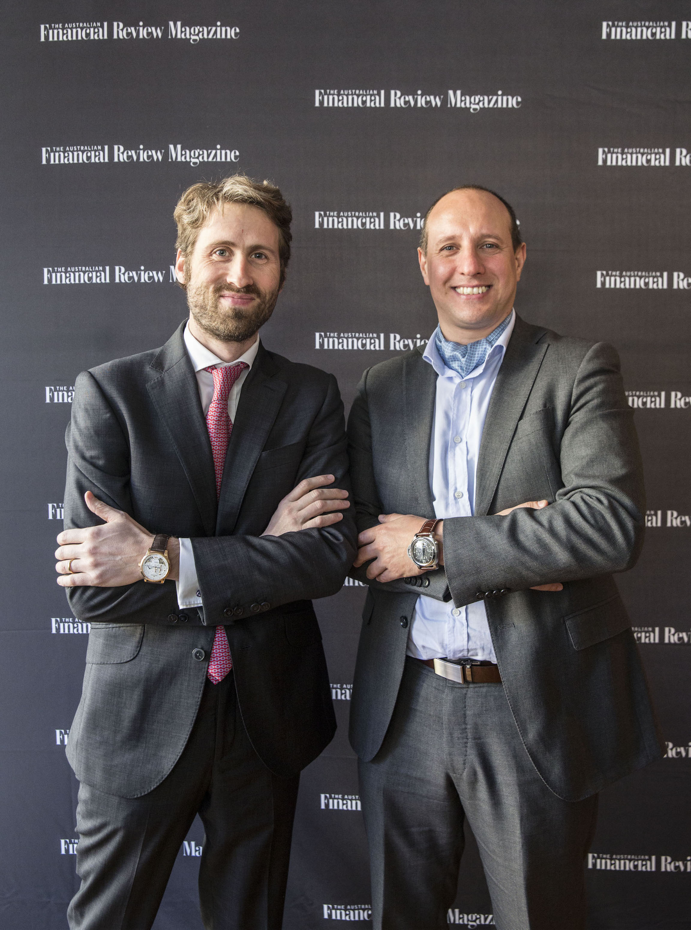 Inigo Ohlsson from Jaeger-LeCoultre and Ruggero Pirrotta from Panerai attend the AFR Watch issue launch at 44 Bridge Street on July 27, 2016 in Sydney, Australia. (Photo by Jessica Hromas:Fairfax Media)