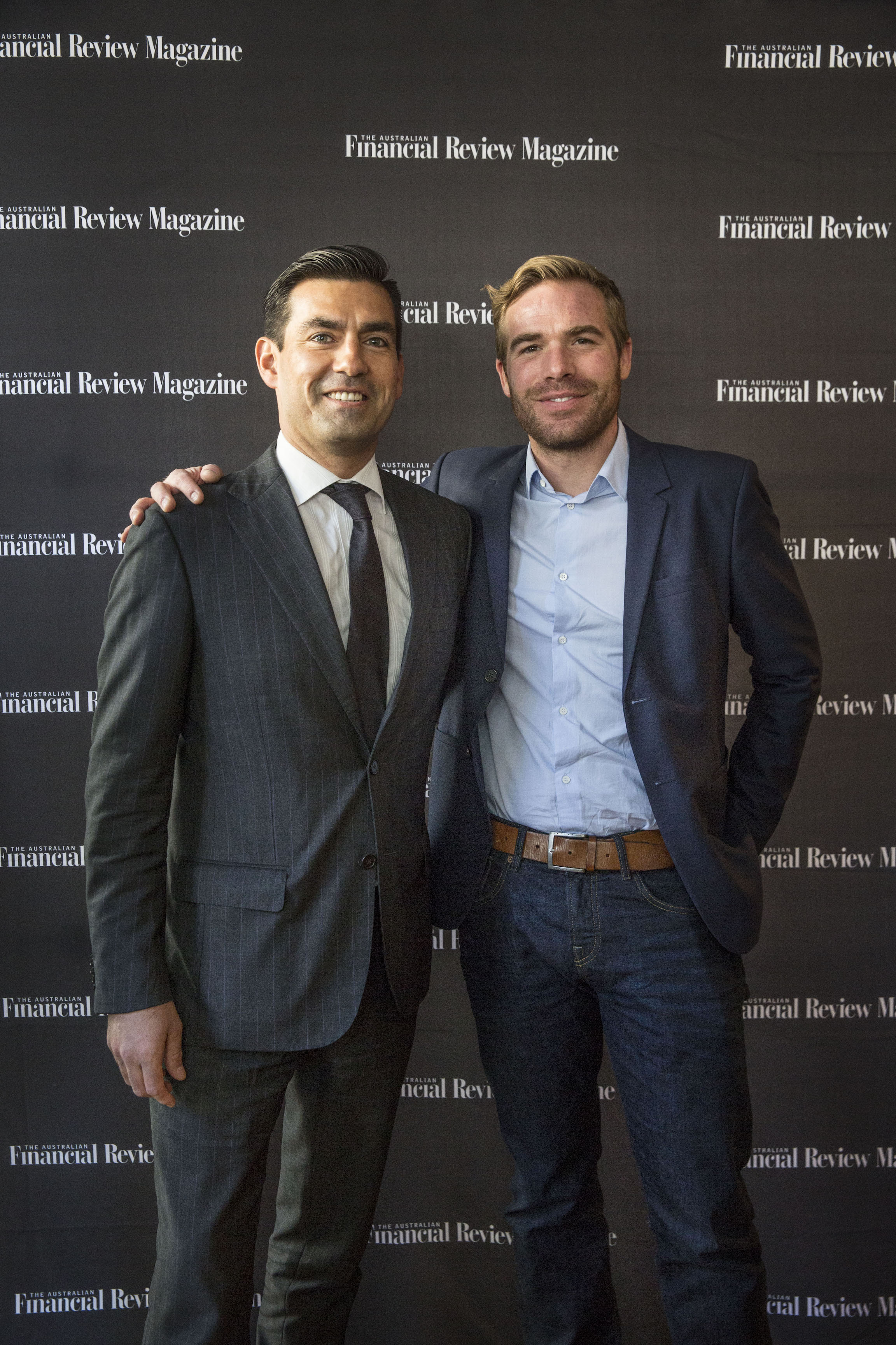 Joel Ruiz from Hublot and Mathieu Brunisholz from Breitling attend the AFR Watch issue launch at 44 Bridge Street on July 27, 2016 in Sydney, Australia. (Photo by Jessica Hromas:Fairfax Media)
