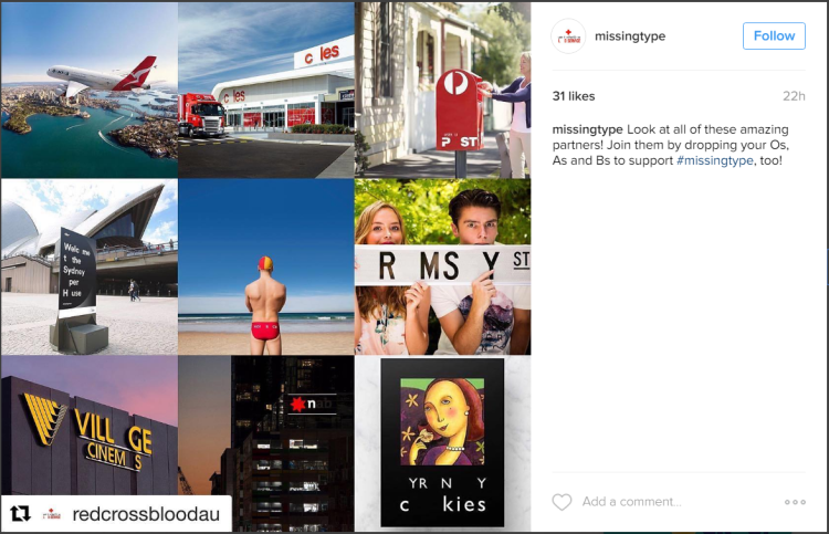 'Missing Type' campaign (Instagram)