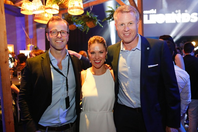 Casper Urhammer left) and Katrina Barry middle) enjoying the annual Contiki Legends party on Wednesday.