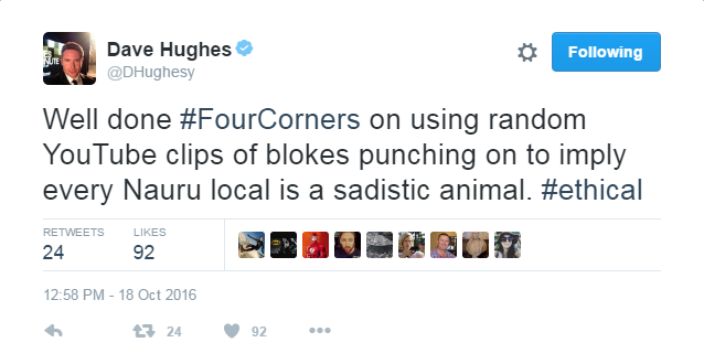 Dave Hughes Tweet (Four Corners)