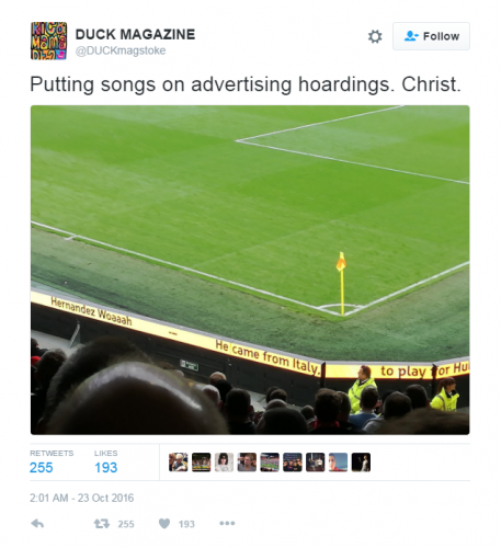 Hull City's ad boards (Tweet)