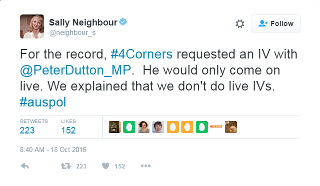 Sally Neighbour Tweet (Four Corners)