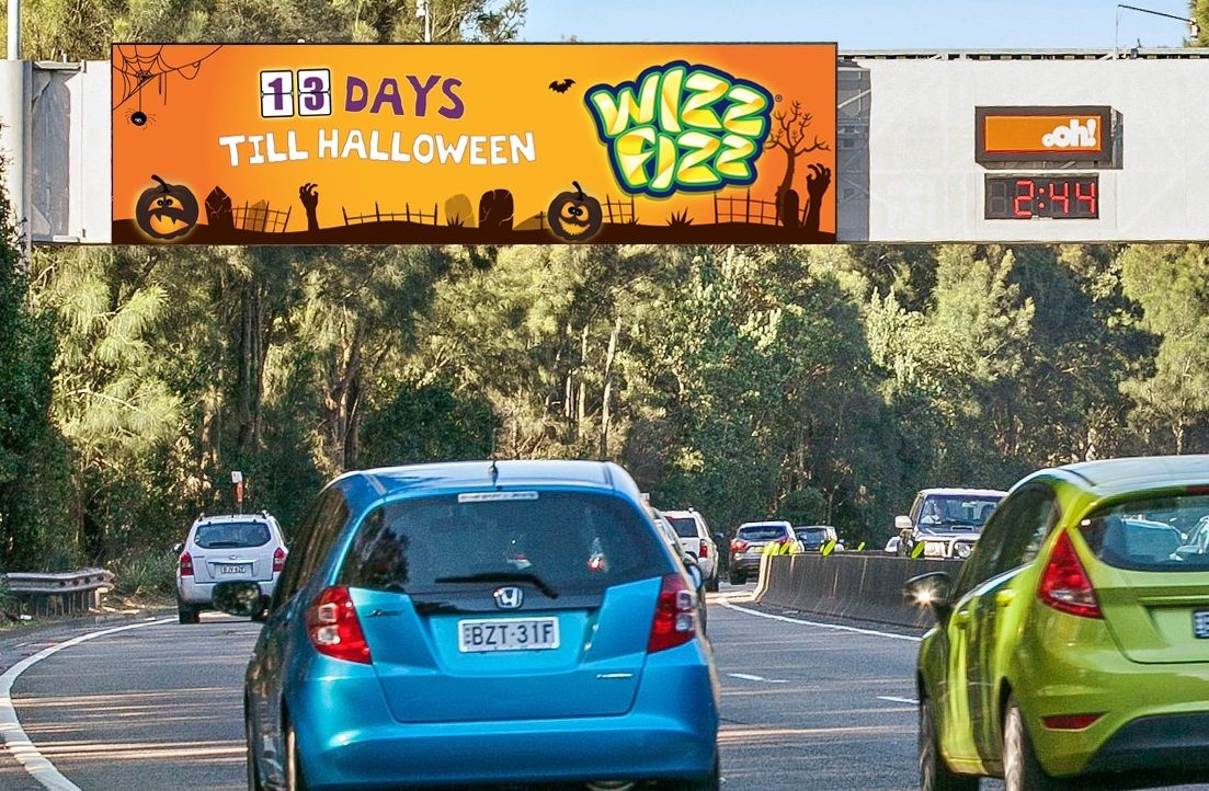 Wizz Fizz Halloween Countdown on oOh!'s digital billboard Mascot, Southern Cross Drive Oct 16