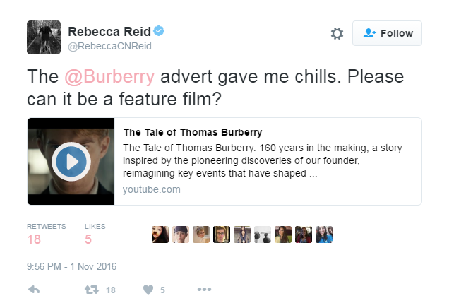Tweet #1 (Burberry ad)