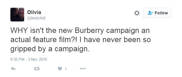 Tweet #3 (Burberry ad)