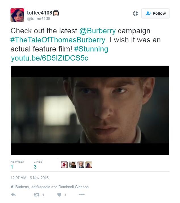 Tweet #4 (Burberry ad)