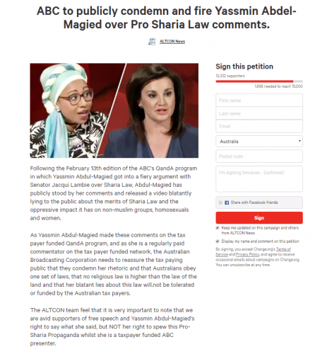 AltCon petition calling for ABC to fire Yassmin Abdul-Magied