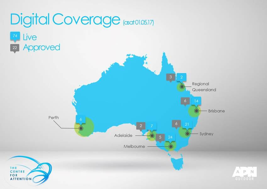 APN Outdoor's current footprint and approved digital billboard sites in Australia.