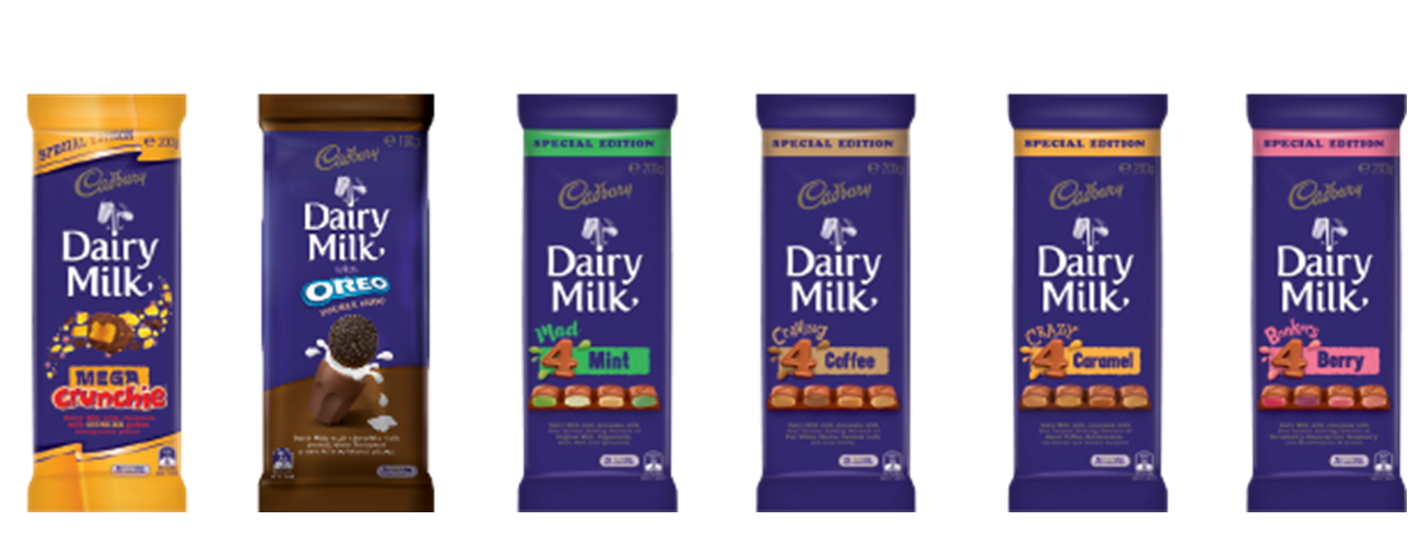 Cadbury's new Dairy Milk range [1]