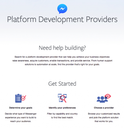 Directory of platform development providers (Facebook Messenger)