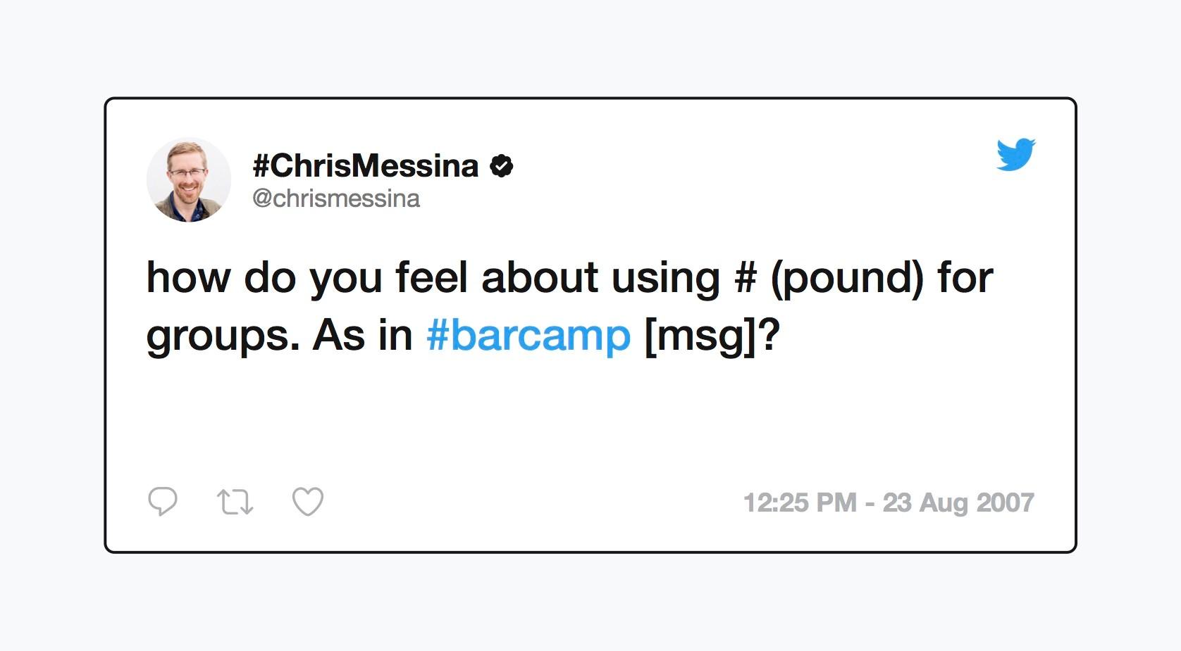 Chris Messina''s #hashtag tweet