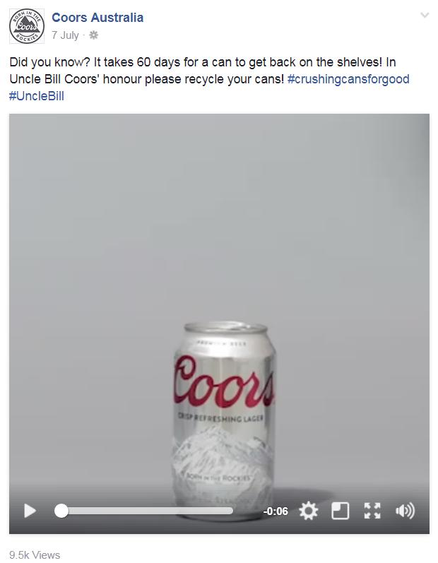 Coors Australia Facebook post