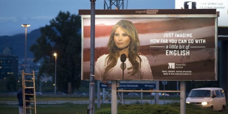 Melania Trump issues legal threat over 'little bit of English' ads
