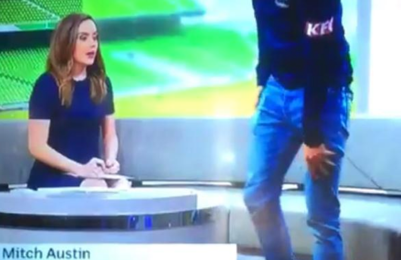abc reporter left gobsmacked as a-league footballer suffers panic attack on live tv
