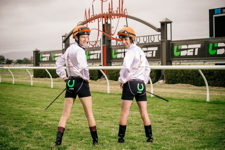 Jockeys Jason Holder and Jake Toerek (UBET 'Lucky Undies' campaign)