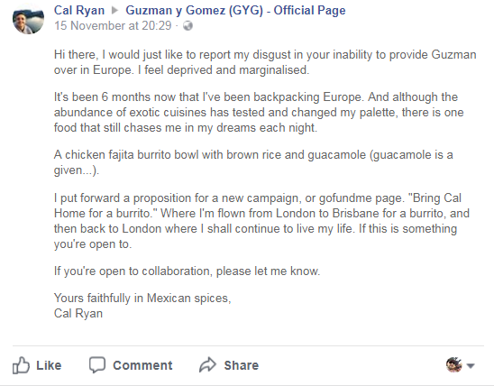 Cal Ryan's Guzman y Gomez Facebook post
