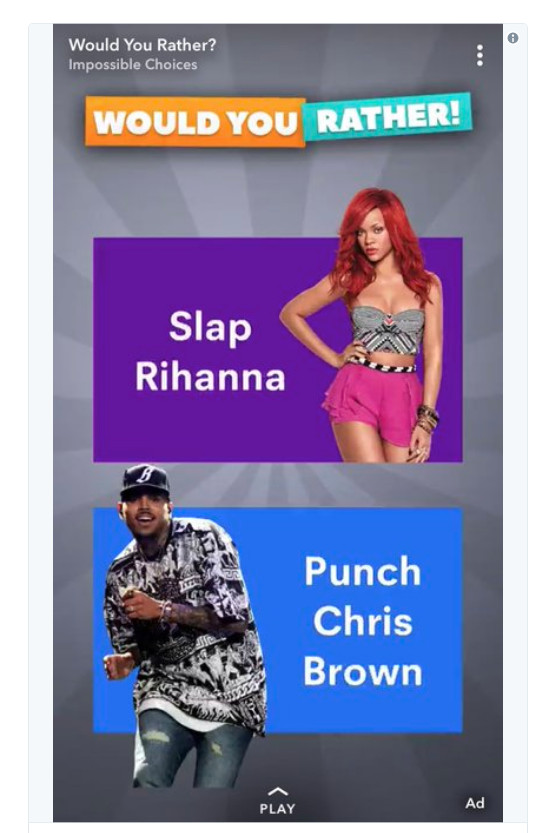 Snapchat ad featuring Rihanna and Chris Brown