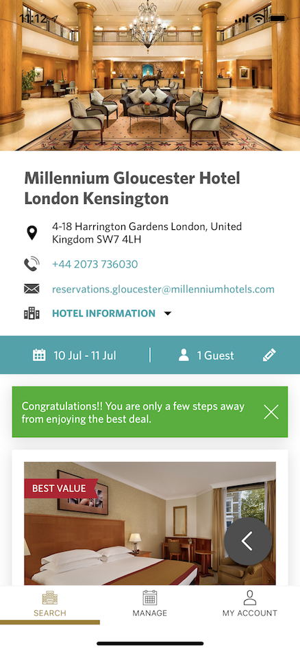 Millennium Hotels and Resorts app [3]