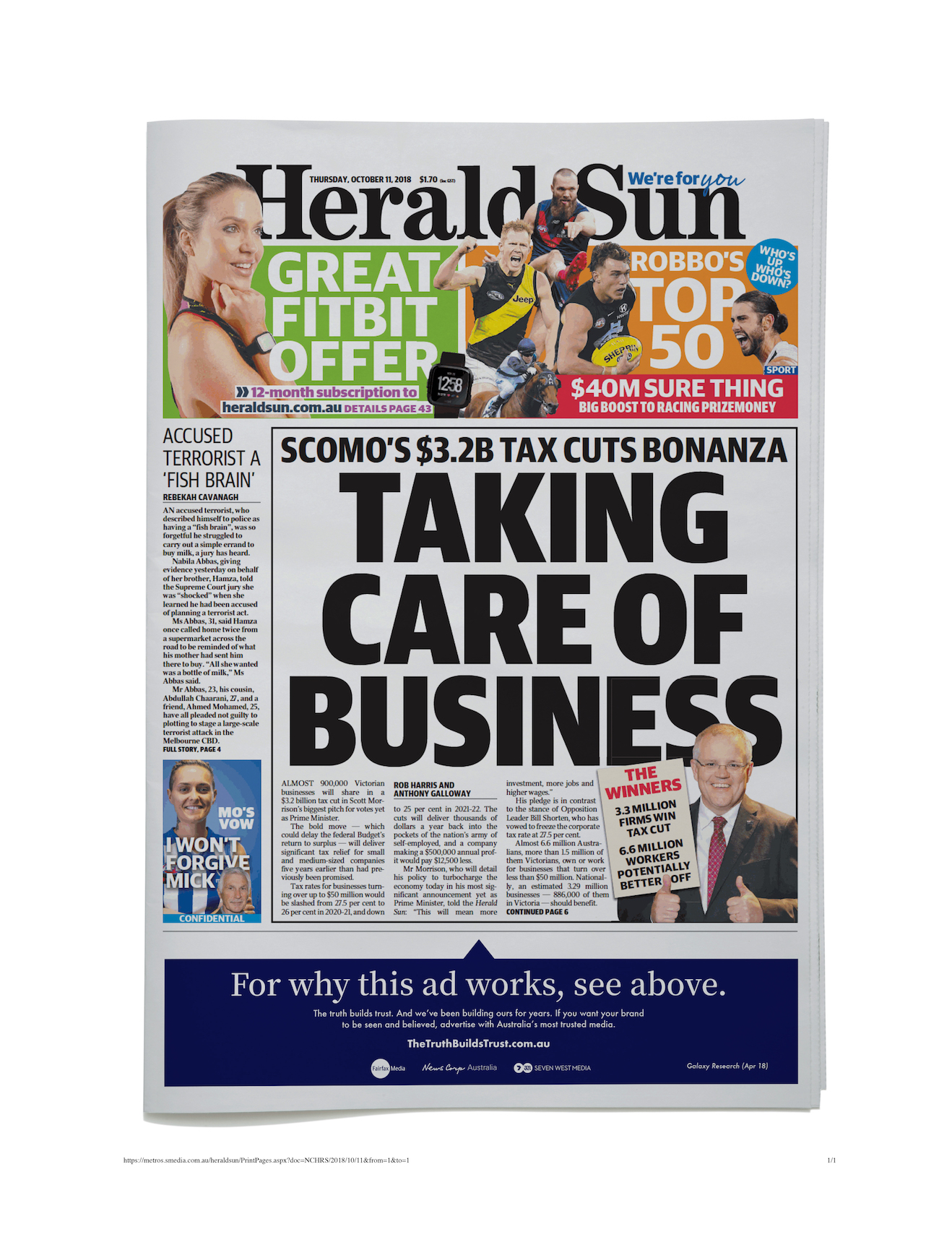 NEWSPAPER_FRONT PAGE_THE HERALD SUN