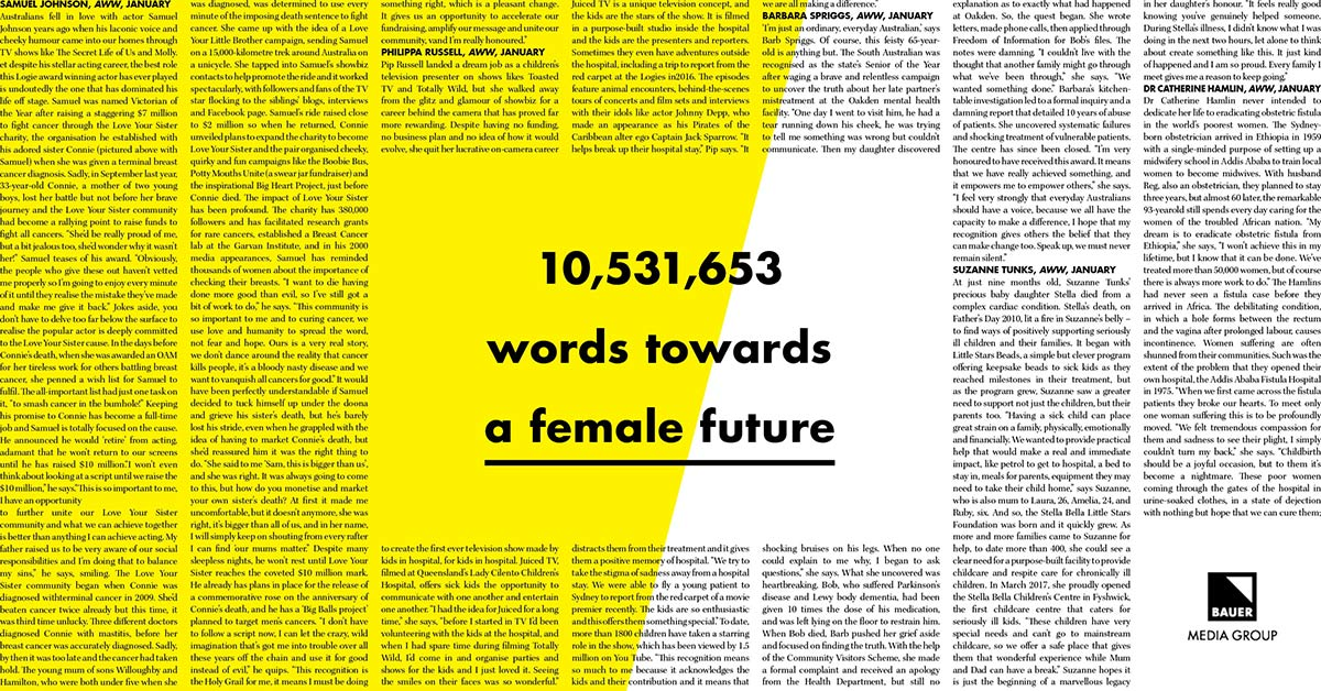 Bauer Delivers Over 10 Million Words Towards A Better Female Future - B&T