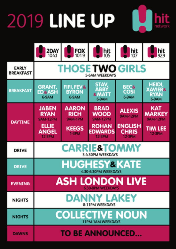 Hit Network 2019 line-up