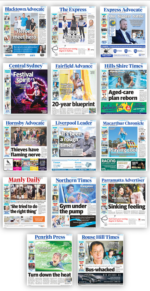 The new-look NewsLocal format with new mastheads and campaign slogan [2]