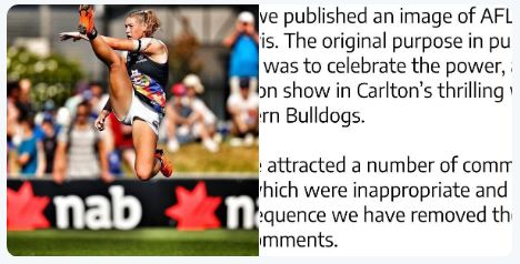 """Photo Of AFLW Star Tayla Harris Taken Down After """"Derogatory"""" Comments"""