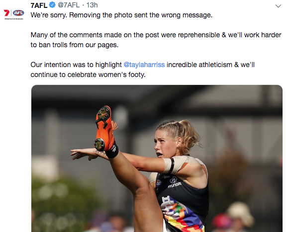 """Seven In Strife After Removing Photo Of AFLW Player Tayla Harris Due To """"Vile"""" Comments"""