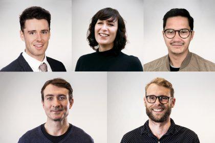 Clockwise (top left) Martin Murphy, Rebecca Luiters, Adam Setia, Guy Patrick, Natahn Bilton