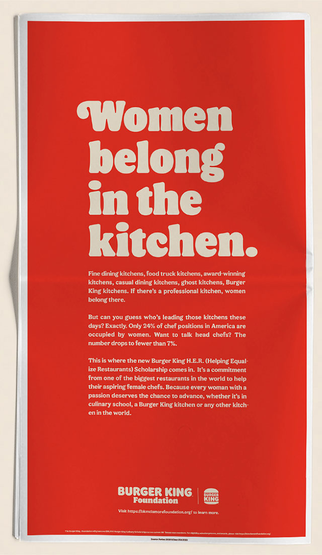 Many Lessons In This One Burger King Forced To Delete Apologise For Women Belong In The Kitchen Advert B T